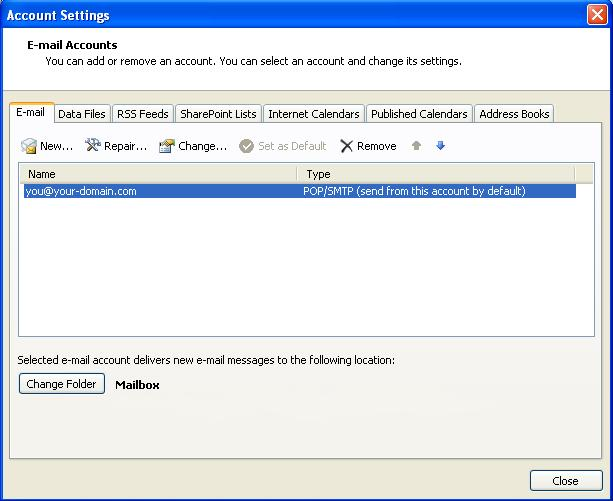 Outlook 2007: Accounts Dialogue