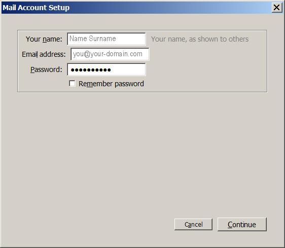 Basic Account Setup in Thunderbird
