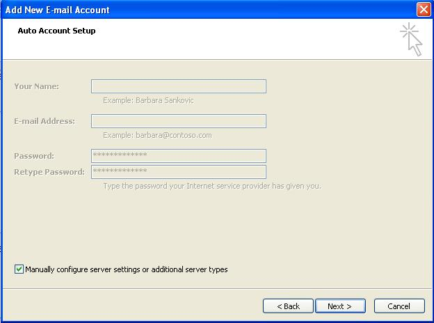 Outlook 2007: Manually Configure Email