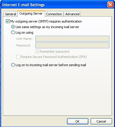 Outlook 2007: Outgoing Server Tab